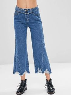 Frayed Hem Belted Ripped Jeans - Denim Dark Blue L Frayed Hem Jeans, Dark Denim Jeans, Ripped Jeans, Outfit Jeans, Pop Fashion, Trendy Fashion, Matching Sweaters, Bastilla, Pants For Women