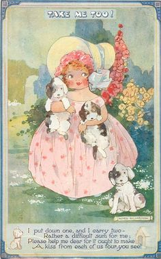 Agnes Richardson - little girl with puppies