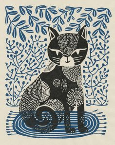 Linocut printmaking and surface pattern design by licensing artist Andrea Lauren, author of Block Print. Art And Illustration, Cat Illustrations, Linocut Artists, Lino Art, Illustrator, Image Chat, Gravure, Art Plastique, Cat Art