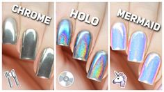Simple Tips to Apply Chrome, Holo & Mermaid Nail Powders Simple Tips to Apply Chrome, Holo & Mermaid Nail Powders Mermaid Nail Powder, Mermaid Nails, Mermaid Art, Chrome Nail Powder, Powder Nails, Mirror Nails Powder, Nail Art Designs, Crome Nails, Nail Ideas