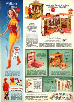 1971 1972 Sears WishBook Wish Book Catalog Page - Mod Walking Jamie and Gift Set, 1970 Barbie Unique Boutique, Jamie Party Penthouse Case Cafe Today Goodies Galore Accessories and Case(s) Mattel Dolls, Vintage Barbie Dolls, Doll Toys, Play Barbie, Barbie And Ken, Toy Catalogs, Dawn Dolls, Barbie Family, Barbie Clothes