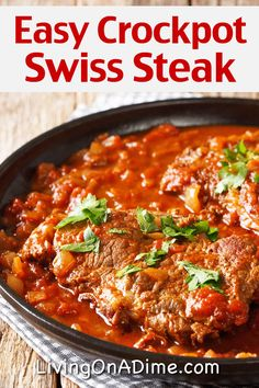 Easy Swiss Steak Recipes And Meal Plan – Perfect For The Crockpot – Living on a Dime To Grow Rich Easy Swiss Steak Recipes And Meal Plan – Perfect For The Crockpot – Living. Crockpot Steak Recipes, Cube Steak Recipes, Crockpot Recipes, Crockpot Stuffing, Simple Steak Recipes, Meals With Steak, Crock Pot Cube Steak, Crockpot Round Steak Recipes, Bottom Round Steak Recipes