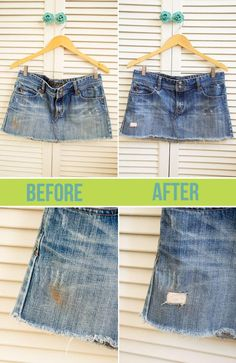 Learn how to make an average denim piece really pop by adding your own holes and textures using these simple techniques to distress denim. Jean Skirt, Denim Skirt, Skirt Tutorial, Diy Tutorial, Cute Skirts, Diy Clothing, Distressed Denim, Fashion Beauty, Fashion Outfits
