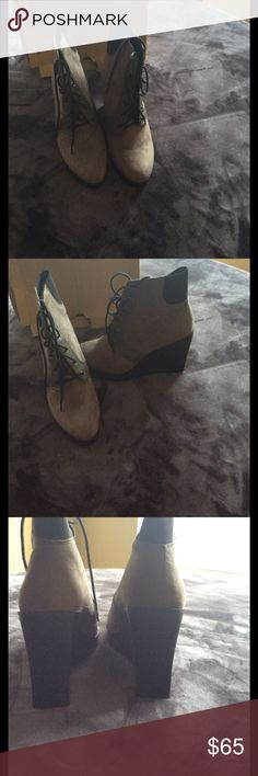 Gently used grey Zara wedge boots Gently used grey and black suede boots. Size 42 which in Zara that's a US size 11.  Purchase from Poshmark and comes with box. List price is open for negotiation. Zara Shoes Ankle Boots & Booties