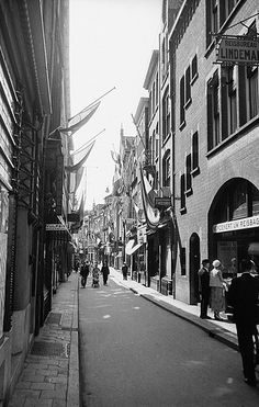 Veenestraat street in The Hague. Gatan Veenestraat i Haag. Location: Den Haag (The Hague), Zuid-Holland, the Netherlands, Nederland Photograph by: Berit Wallenberg Date: Format: Film The Hague Netherlands, La Haye, Vintage Photography, White Photography, Back In Time, Places Ive Been, Dutch, Places To Visit, Holland