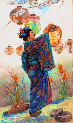 ☂ Paper Lanterns and Parasols ☂ Japonisme Art and Illustration - hanging lanterns