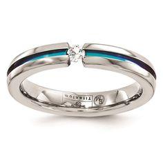 Titanium White Sapphire & Rainbow Anodized 4mm Wedding Ring Band Size Size 6.5 by Edward Mirell