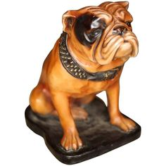 20th Century Pottery Model of an English Bulldog   From a unique collection of antique and modern sculptures at https://www.1stdibs.com/furniture/decorative-objects/sculptures/