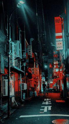 Aesthetic Japan, Neon Aesthetic, Night Aesthetic, Japanese Aesthetic, Aesthetic Themes, Aesthetic Collage, Dark Red Wallpaper, Black Aesthetic Wallpaper, Aesthetic Backgrounds