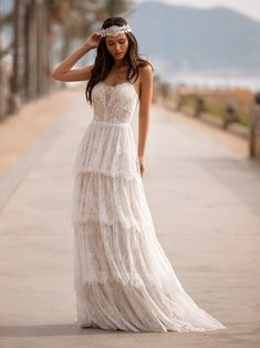 30 Lace Bridal Gowns Of Your Dream ❤ lace bridal gowns a line sweetheart ruffled skirt boho beach pronovias ❤ Pronovias Wedding Dress, Lace Wedding Dress, Bohemian Wedding Dresses, Dream Wedding Dresses, Bridal Lace, Bridal Style, Bridal Dresses, Wedding Gowns, Hollywood Glamour