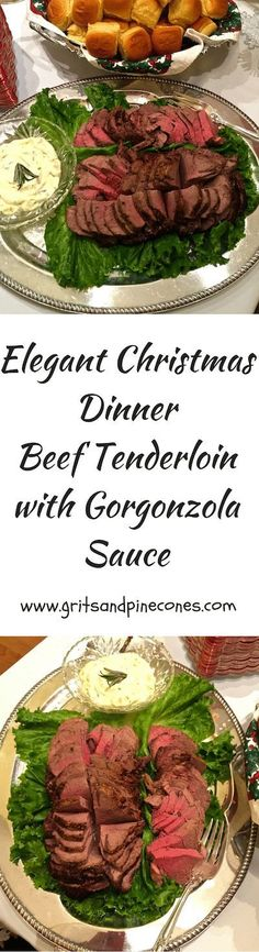 Perfect Beef Tenderloin with Gorgonzola Sauce : Classic beef tenderloin with gorgonzola sauce is as simple and low-key as it is elegant and guaranteed to impress family and friends! Perfect Beef Tenderloin, Beef Tenderloin Recipes, Roast Tenderloin, Roast Brisket, Pork Roast, Sauce Gorgonzola, Holiday Recipes, Dinner Recipes, Christmas Recipes