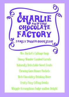 Charlie and the Chocolate Factory Dinner Menu from Daisy at Home #fdbc #charlieandthechocolatefactory