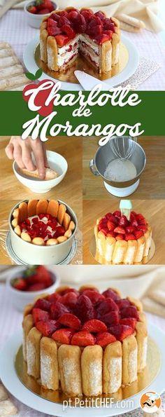 Difícil achar alguém que não goste de morangos...essa charlotte então...Receita francesa, a charlote é um bolo que não vai ao forno. Ela é simples, rápida e deliciosamente feita com bolacha champanhe, morangos, nata/creme de leite, açúcar....Pronta em 20 minutos. Vamos fazer? #charlote #charlotte #receitassemforno #receitasparatentar #receitasparafazer #recipes #culinaria #lanche #sobremesa #doce #docinho #morango #fome #comida #eucomi