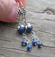 Lapis Blueberries Sterling Silver Dangle Long Healing by IndieWolf
