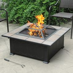 """Ceramic Tile Top Fire Pit, Black/Antique Bronze, """"It's Lit"""""""