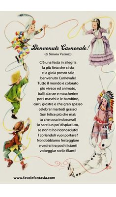 Carnival Crafts, Italian Lessons, Youth Center, Vintage School, Italian Language, Learning Italian, Teaching Tools, Happy Anniversary, Nursery Rhymes