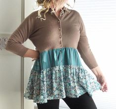 Figure flattering retro vintage sweater (Talbott brand - washable acrylic Orlon - feels like cashmere) with a tiered cotton blend skirt added! Very cute with jeans (or leggings)! This is a womens size medium to large sweater that is a slight high low. We used a cute mix of striped and Sweater Refashion, Sweater Cardigan, Upcycled Vintage, Retro Vintage, Vintage Sweaters, Floral Fabric, Boho Chic, High Low, Cashmere