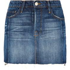 Frame Mini Mix denim skirt (645 BAM) ❤ liked on Polyvore featuring skirts, mini skirts, saia, frame denim, denim mini skirt, button-front denim skirts, blue mini skirt and blue skirt