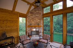 The perfect screened porch with fireplace! | Plan 013S-0010 | House Plans and More