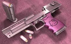 This is a real gun! I am totally against guns and using Hello Kitty to glamorize violence is disgusting! However, it does prove my point that you can get absolutely anything and everything in Hello Kitty style! Hello Kitty Gun, Hello Kiti, Armas Wallpaper, Pink Guns, Desert Eagle, Everything Pink, Self Defense, Say Hello, Guns And Ammo