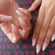 Stiletto nails in a light French manicure Frensh Nails, Prom Nails, Nude Nails, Wedding Nails, Hair And Nails, Acrylic Nails, Gel Ombre Nails, Coffin Nails, Acrylics
