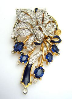 Vintage Crown Trifari Fur Clip Pave Rhinestones Flower Blue Glass Enamel | eBay