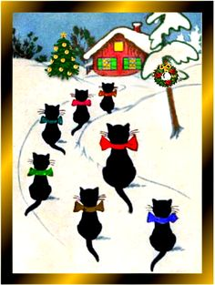 •♥•.¸¸.•♥•  black cats in snow with bows outside red Christmas Cottage