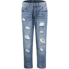 Yoins Ripped Jeans-Blue  S/M/L ($28) ❤ liked on Polyvore featuring jeans, pants, yoins, blue, torn jeans, distressing jeans, ripped blue jeans, destructed jeans and ripped jeans