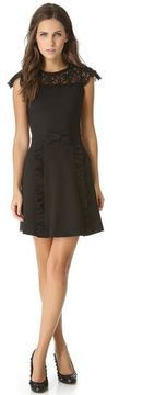 ShopStyle.com: Red valentino Ponte Dress with Lace $595.00