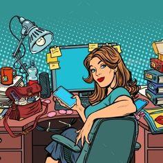 Pop Art Businesswoman in the Workplace Pop Art Girl, Art Pop, Music Icon, Art Music, Desenho Pop Art, Pop Characters, Retro 4, Heart Art, Girl Cartoon