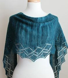 This all season small shawl, or shawlette, is the perfect one-skein project for a beautiful fingering weight yarn. Worked in one piece from end to end, the lace edging is knitted along with the stockinette body. Size is adjustable, based on how much yarn is used. Weigh your yarn before you begin and periodically as you knit. When you have used half the yarn, begin to decrease your shawl.