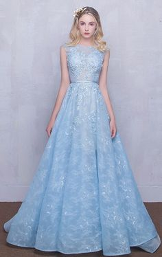 Fairy Sky Blue Puffy Sheer Long Lace A-line Prom Dresses