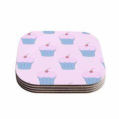Kess InHouse NL Designs 'Pink Cupcakes' Blush Coasters