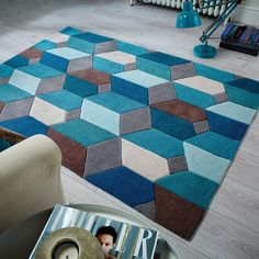 Modern Funky Geometric Scope Teal Blue Rug Various Sizes Rug Direct, Abstract Rug, Pretty Headboard, Teal Rug, Carpet Runner, Blue Rug, Blue Carpet Bedroom, Rugs Online, Modern Rugs