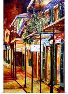 Diane Millsap Solid-Faced Canvas Print Wall Art Print entitled Old Bourbon Street Glow Louisiana Art, New Orleans Louisiana, Painting Prints, Wall Art Prints, Canvas Prints, Framed Prints, Paintings, New Orleans Art, New Orleans French Quarter