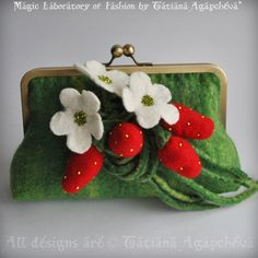 Clutch STRAWBERRY Fields Forever Felted with Strawberry Corsage Saint Patrick's Day. $118.00, via Etsy.