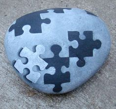 PUZZLED? Hand painted beach rock. Beautiful, decorative, monochromatic, metaphoric puzzle art piece... or a really cool door stop.: