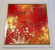 Handmade card. Mixed Media Ink Sprays,Mixed Media Art stencil, Textile Starlights, Sparkle Medium.