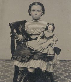 stripes and silk apron with bretelles and doll