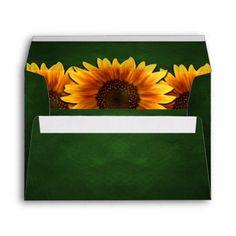 Green Chalkboard Sunflower Wedding Envelopes