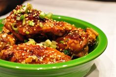 Sticky Sesame Chicken Wings: Sticky Asian-inspired sesame chicken wings are excellent whether served hot or at room temperature. Sesame Chicken Wings Recipe, Best Chicken Wing Recipe, Chicken Wing Recipes, Chicken Meals, Healthy Chicken, Appetizer Recipes, Dinner Recipes, Appetizers, Cooking Recipes