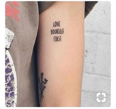 Love Yourself First - Tattoo Small First Tattoos, Little Tattoos, Small Tattoos, Nail Tattoo, Piercing Tattoo, Get A Tattoo, Piercings, Love Yourself Tattoo, Love Yourself First