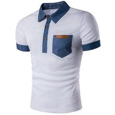 Faux Leather Denim Panel Polo T Shirt