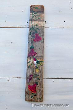 Dreams Don't Work Inspiration – Flower Patch Farmhouse Hand Painted Hummingbird on wine barrel stave, FlowerPatchFarmho… Wood Pallet Art, Pallet Painting, Painting On Wood, Wood Art, Painting & Drawing, Diy Wood, Folk Art Flowers, Flower Art, Pallette