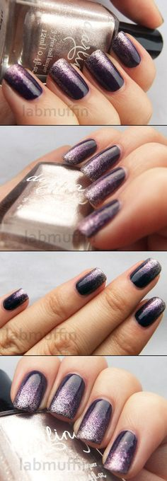 DIY :: Purple & Gold Glitter Gradient :: OPI Vant to Bite My Neck (very dark purple creme) & Hello Darling likeomg (a foily metallic gold-silver) :: I don't care for metallic foils too much, but I do like them work this way!! | #glittergradient #metallicfoil #polishorperish