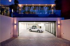 Underground garage behind house