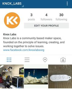 Go Follow @knox_labs !  Knox Labs is a maker space in Central Ohio focused on creating skills passions and creating innovative solutions to common problems.  #inventors #makerspace #knoxlabs #createsharegather #raspberrypi #arduino #nerdgym #makers #3DPrinting #woodworking #computernetworking #linux #codingandstuff by natethomasltd