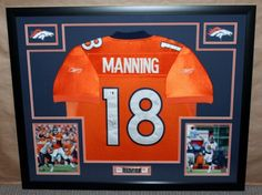 Custom framed Peyton Manning Denver Broncos jersey. #art #framing #denver #colorado #broncos #manning