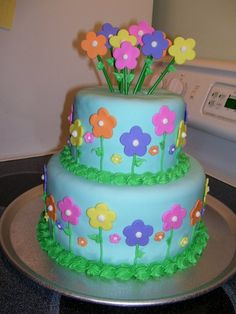 Flower Birthday Cake With Flowers Butterfly Girls