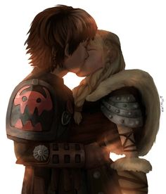 Hiccup and Astrid from How To Train Your Dragon